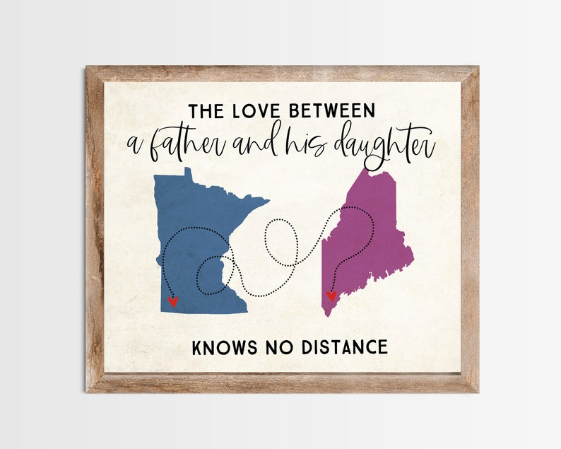 Father and Daughter Long Distance Map Print. Personalized Long image 0