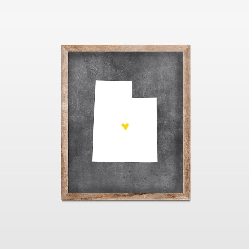 Utah Chalkboard State Map Art Print. Personalized Chalkboard image 0