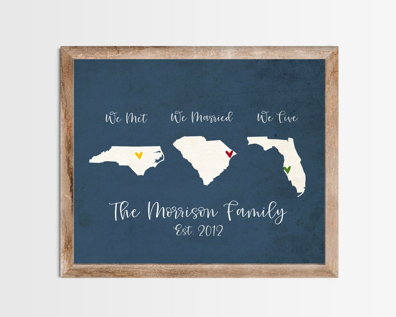 Silhouette Met Married Live Personalized Map Any State or image 0