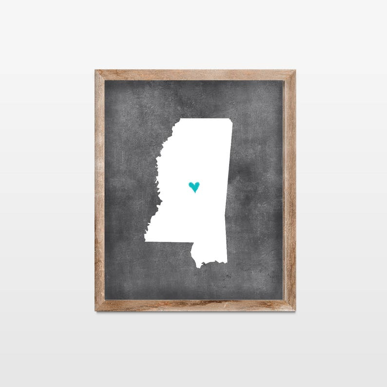 Mississippi Chalkboard State Map Art Print. Personalized image 0