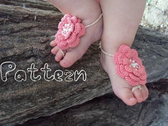 PDF pattern Baby Barefoot Sandals / Crochet baby sandals pattern ...