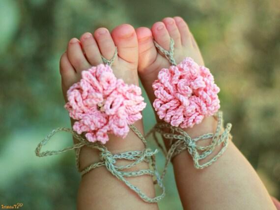 Baby barfuß Sandalen / häkeln Baby Sandalen Baby Flower | Etsy