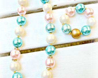 Chunky Bead Pearly Necklace Set/Pink Turquoise,Cream, Pearly Necklace Set for Girls/Fancy Bead Necklace For Girls/Flower Girl Necklace Set