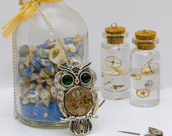 Tibetan Silver Owl Steampunk Watch Movement Necklace. Hand Made in Cornwall, UK