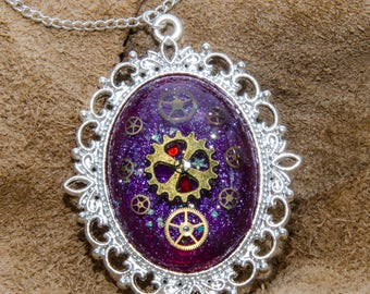 Purple Domed Steampunk Watch Parts Necklace. Hand Made in Cornwall, UK.