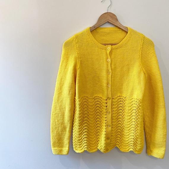 Handmade knitted sunshine lemon yellow cardigan