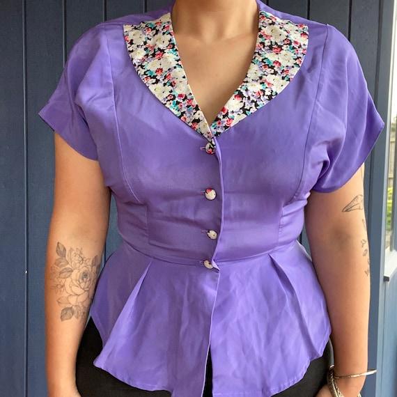 Vintage women's handmade purple floral flower blou