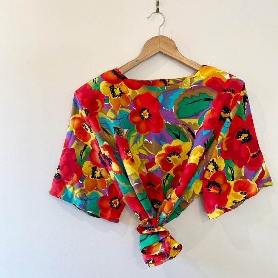 Vintage women's floral flower blouse colourful bri