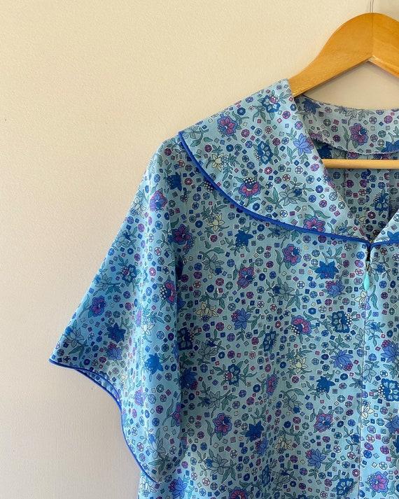 Vintage 1970s 1980s blue floral dress plus size pr