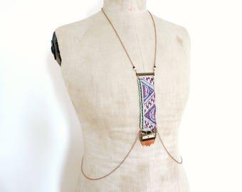 One of a kind boho chic body chain jewelry harness - Yiska