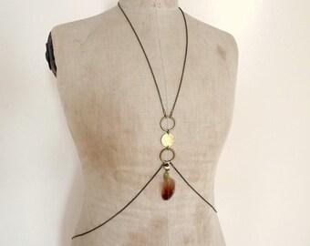 Boho folk vintage chic body chain jewelry harness - Vanni