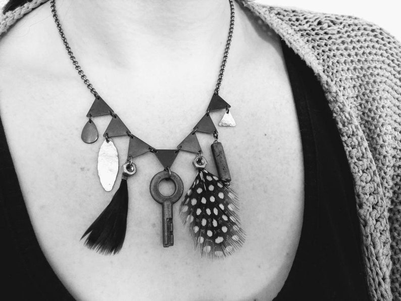 upcycled jewels witch talisman One of a kind key and feathers steampunk pagan Nyne occult cabinet of curiosities Oddities necklace