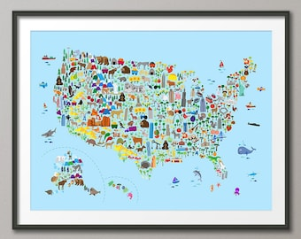 Items similar to Kids United States Map Classroom Art Childs ...