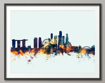 Great Houswarming and New Home Gift Singapore Travel Poster Framed Singapore Art Print Aesthetic Singapore Skyline Wall Art