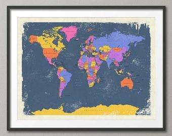 24x36 world map | Etsy