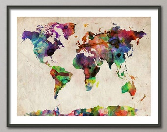 World map as a tube metro subway system art print 596 etsy watercolor map of the world map art print 11x14 up to 18x24 inch 749 gumiabroncs Images