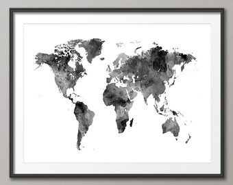 Watercolor map etsy watercolor map of the world map art print 2396 gumiabroncs Images