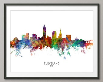 Cleveland Skyline apron Cleveland Skyline Gift Cleveland Skyline Ohio Linen Kitchen Apron Cleveland foodie gift Cleveland Ohio gift