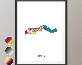 picture poster wall art Britain The Gambia watercolor print Travel gift