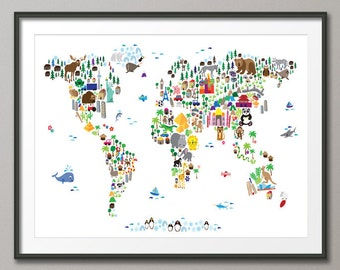 Kids world map etsy animal map of the world map for children and kids art print 61 gumiabroncs Gallery