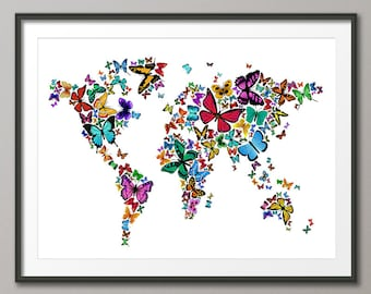 Cats map of the world map art print 180 etsy butterflies map of the world map art print 448 gumiabroncs Choice Image