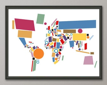 World map as a tube metro subway system art print 596 etsy abstract map of the world map art print 803 gumiabroncs Images