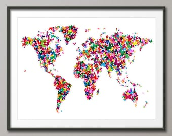 Map of the world map in the style of piet mondrian art print etsy butterflies map of the world map art print 511 gumiabroncs Image collections