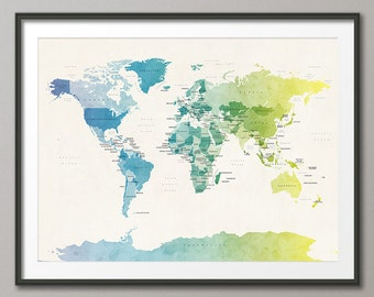 World map as a tube metro subway system art print 596 etsy political map of the world map art print 18x24 up to 24x36 1088 gumiabroncs Images