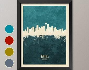 Seattle Skyline, Seattle Cityscape Washington, Watercolor Art Print Poster (4235)
