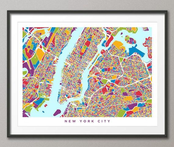 New York City Map USA, Street Map of New York City, Art Print (2859)