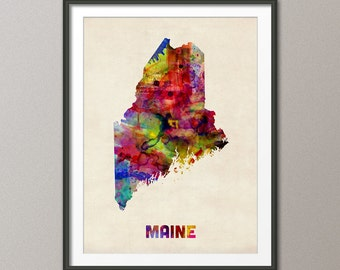 Maine Watercolor Map USA, Art Print (364)
