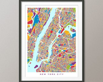 New York City Map USA, Street Map of New York City, Art Print (2960)