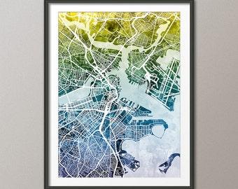 Boston Map, Boston Massachusetts City Street Map, Art Print (1932)