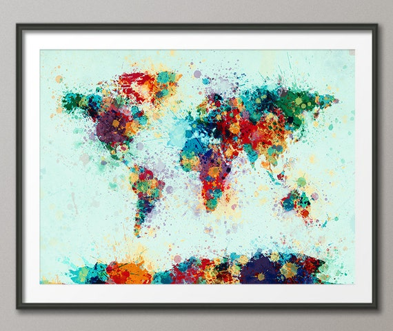 mapa de salpicaduras de pintura del mapa del mundo l mina etsy. Black Bedroom Furniture Sets. Home Design Ideas