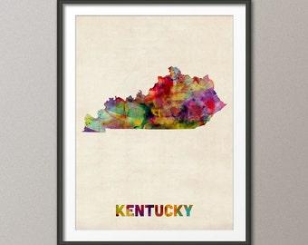 Kentucky Watercolor Map USA, Art Print (360)