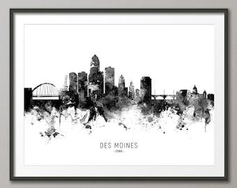 Des Moines Skyline, Des Moines Iowa Cityscape Art Print Poster (11554)