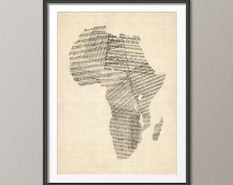 Africa Old Sheet Music Map, Art Print (342)