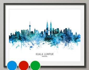 Kuala Lumpur Skyline Malaysia, Cityscape Art Poster Print Blue Red Green (20652)