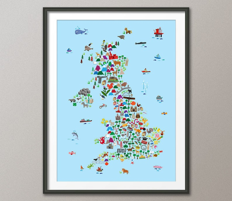 Great Britain Animal Map for children and kids UK Map Art | Etsy on
