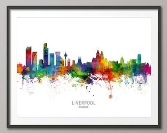 Liverpool Skyline England, Cityscape Painting Art Print Poster CX (6508)