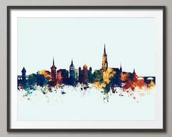 Bern Skyline, Bern Switzerland Cityscape Art Print (2689)