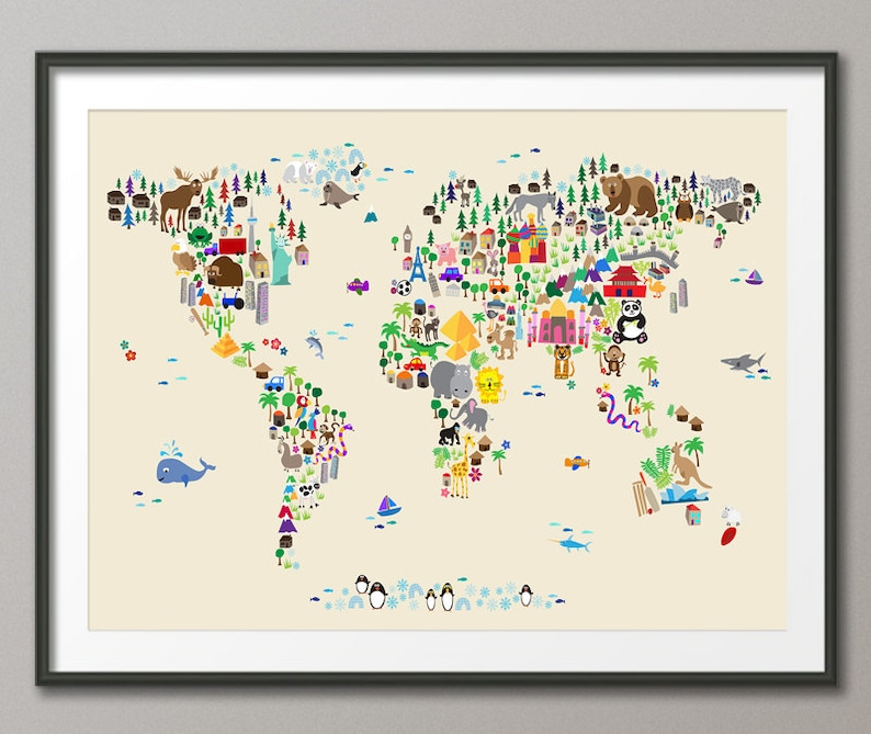 Animal Map of the World Map for children and kids Art Print image 1