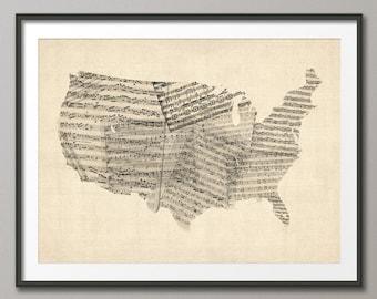 United States Old Sheet Music Map USA, Art Print (908)