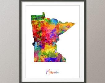 Minnesota Map USA, Art Print (1145)
