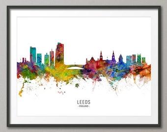 Leeds Skyline England, Cityscape Painting Art Print Poster CX (6587)