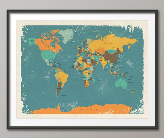 Retro Political Map Of The World Map Art Print 18x24 Up To Etsy