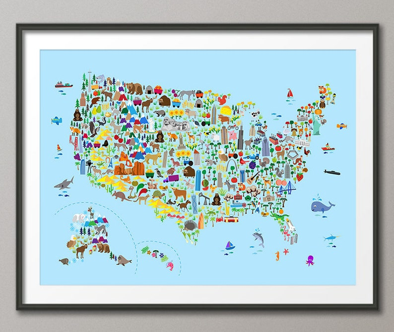 Animal Map of the United States Map for children and kids | Etsy