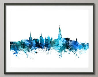 Bern Skyline, Bern Switzerland Cityscape Art Print (3096)