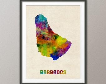 Barbados Watercolor Map, Art Print (2296)