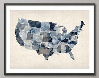 Watercolor United States Map USA, Art Print (528)